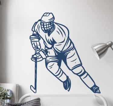Hockey sport player wall sticker decoration of  hockey game player . It is easy to apply and it is available in different colours and size options.