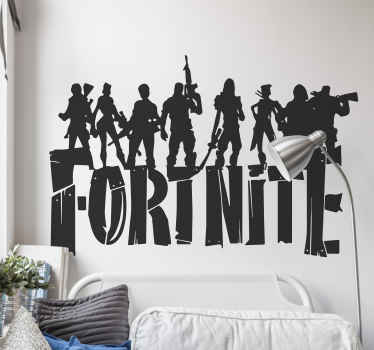 Fornite game wall sticker with various personalities and the text '' fortnite''. The colour and size is customisable with various options.