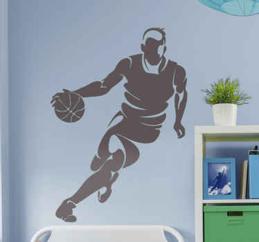 A basketball player wall sticker featured with a player running with a ball on the hand. It is available in different colour options