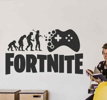A lovely video game wall sticker ideal for the decoration of teenagers space. A fortnite video game  sticker with an evolutionary sequence of man.