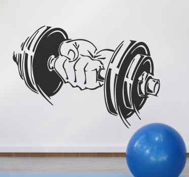 Um autocolante decorativo de desporto de motivação com o desenho de uma mão segurando um haltere. Um produtoideal para o espaço da academia e é personalizável.