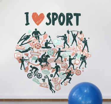 A sport theme wall art decoration with different sport activities and players. The product is made of high quality vinyl.
