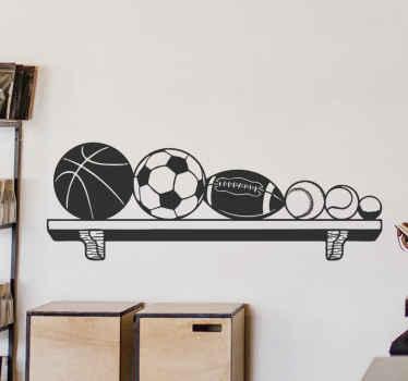 Ein dekoratives Sport Regal Wandtattoo mit verschiedenen darauf angeordneten Sportbällen. Es ist in verschiedenen Farben und Größen anpassbar. Einfach anzuwenden.