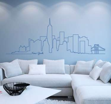 "Stunning monochrome wall sticker of the iconic Manhattan skyline. This design shows the outline of famous NYC skyscrapers and monuments such as the Empire State Building and Brooklyn Bridge with the words ""New York"" written in a cool cursive font."