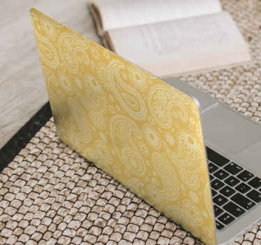 Arabic paisley laptop sticker made with yellow background. It is self adhesive and easy to apply without wrinkle effect on it surface.