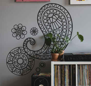 美丽的墙贴花,在您的空间上创造装饰效果。具有不同颜色和尺寸的单色佩斯利贴纸设计。
