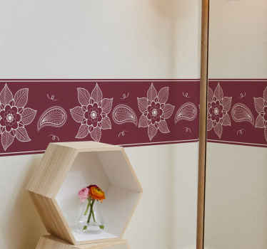 An amazing red background wall border sticker with design of paisley. It is made with high quality vinyl and it is easy to apply on flat surface.