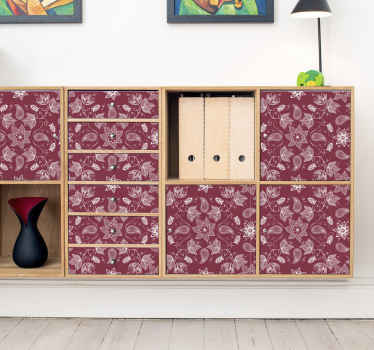 A classic furniture sticker with paisley design on red background to change the face of your furniture. It is easy to apply and customisable in size.