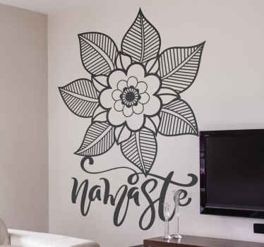 An original ornamental flower sticker with ''namaste'' text to bring Asian salutation to your home with warmness. It is easy to apply.