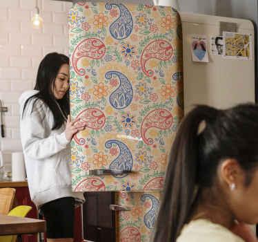 페이즐리 디자인 컬렉션에서 다채로운 페이즐리 냉장고 도어 스티커를 제공합니다. 그것은 고품질 비닐로 만들어졌으며 적용하기 쉽습니다.