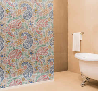 Beautify your bathroom space with our fantastic shower screen sticker made with paisley design. It is customisable to any dimension.