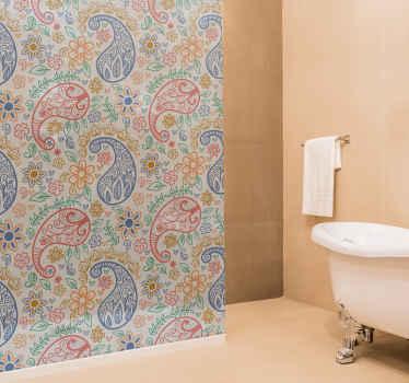 Embellissez votre salle de bain avec ce fantastique sticker paroi de douche au design paisley. Il est personnalisable selon n'importe quelle dimension.