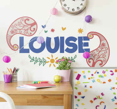 Children personalisable name wall sticker from our collection of paisley design. It is easy to apply and made of good quality.