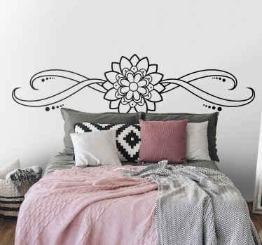 Vinilo para cabeceros de cama de flores ornamentales simple pero elegante para decorar tu dormitorio con un diseño exclusivo ¡Compra online!