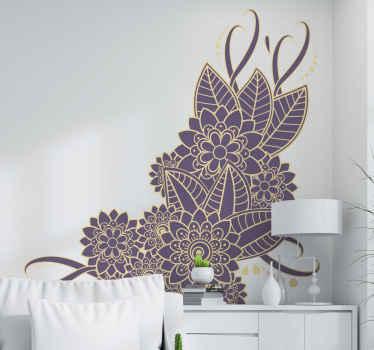 Hermoso vinilo de flores con diseño paisley en color morado y dorado con un toque elegante. Disponible en diferentes tamaños ¡Envío a domicilio!
