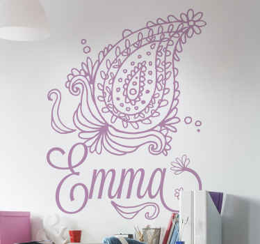 Flower wall art sticker with design of ornamental paisley in monochrome. It is personalisable in any required name and it application is easy.