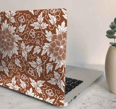 vinil autocolante decorativo de vinil decorativo pc com produtobonito brilhante flor ornamental em fundo marrom. é autoadesivo e fácil de aplicar.