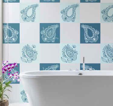 Transforme su baño con una decoración original con nuestros azulejos adhesivos baño de flores azules en estilo paisley ¡Envío a domicilio!