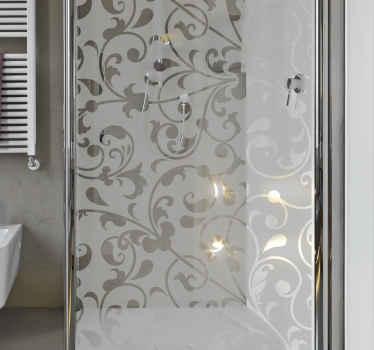 Vinilo para mampara de baño de hojas ornamentales paisley para con flores clásicas  sobre fondo translúcido ¡Envío a domicilio!
