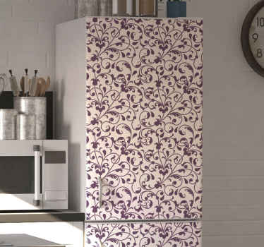 Decorative fridge door sticker designed with ornamental paisley flowers . It is original and made with high quality vinyl.