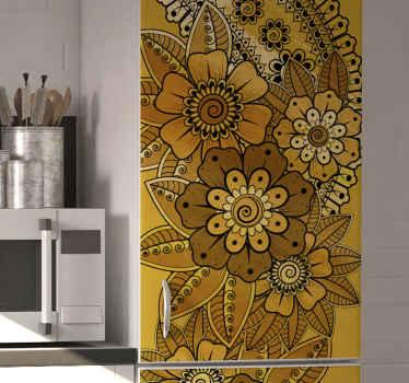 냉장고 표면을 장식하는 페이즐리 인도 스타일의 냉장고 스티커. 그것은 좋은 품질의 비닐로 만들어졌으며 적용하기 쉽습니다. 필요한 크기로 제공됩니다.