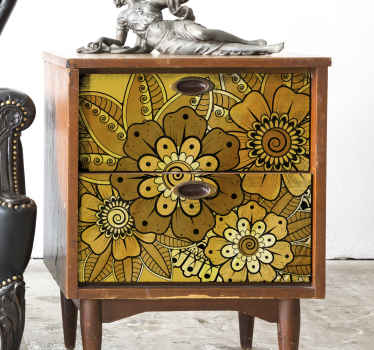 Decorative furniture sticker with an ornamental Indian design to beautify furniture surface. It is made of quality vinyl.