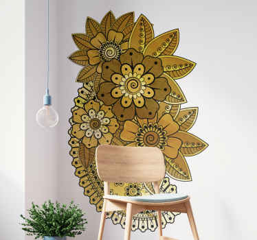 Floral vinyl wall art sticker with ornamental paisley design in an  Indian style. It is easy to apply and made of good quality vinyl.