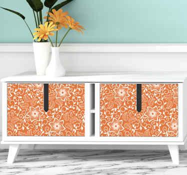 мебельный стикер с декоративным цветочным узором пейсли на оранжевом фоне. идеально подходит для любой поверхности мебели в доме и для офисных помещений.