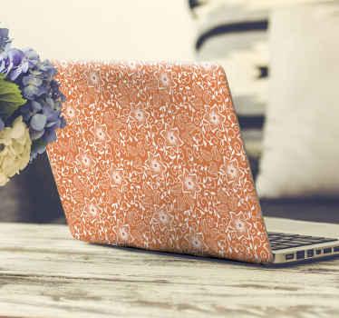 autocolante pc bonito para decorar seu pc em grande estilo. Um produtofeito com as estampas de paisley em fundo laranja. é fácil de aplicar.