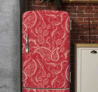 Decorate the space of your fridge door space in our amazing sticker created with golden paisley design on red background.