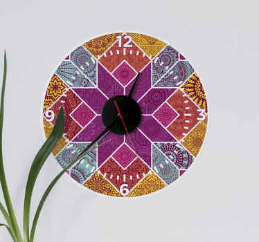 Beautiful wall clock sticker to decorate that space you have been thinking about. It is designed in multicolored mosaic style.