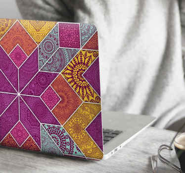 Magnificent ornamental decal for laptop made with mosaic design in multicolored colorful patterns. It is easy to apply and available in any size.