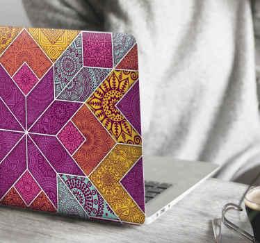 Prachtige decoratieve kleurrijke mandala design sticker voor laptop gemaakt met mozaïekontwerp in veelkleurige kleurrijke patronen. Het is gemakkelijk aan te brengen en verkrijgbaar in elke maat.