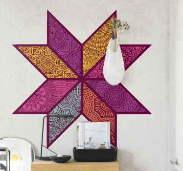 Sticker géométrique élégant conçu dans un style coloré en mosaïque. Le produit est facile à appliquer et fabriqué avec des matériaux de qualité.