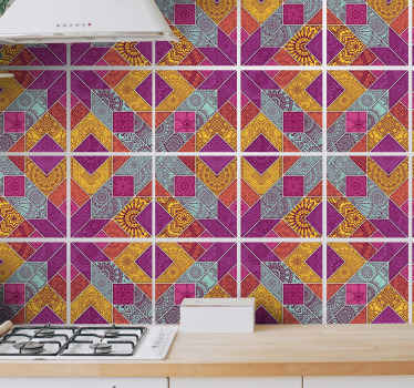 Waterproof tile sticker with multicolored mosaic pattern for kitchen decoration.  It is available in different sizes ans easy to apply.