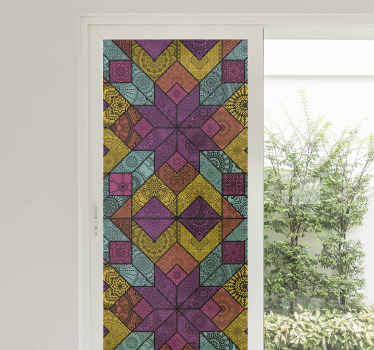 Decorative window vinyl decal with multi colored design style. This product is perfect for any window space. Easy to apply and self adhesive.