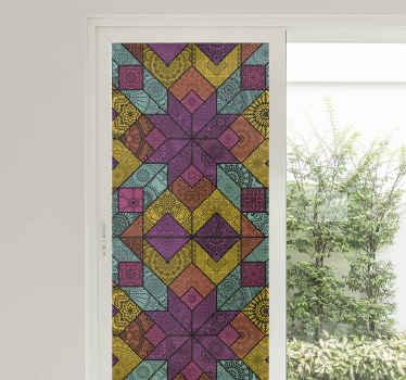 Vinilo para cristales con estilo de diseño paisley multicolor. Diseño translúcido perfecto para decorar tu casa ¡Envío a domicilio!