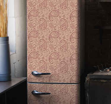 Beautiful fridge sticker with ornamental paisley design to beautify the surface of a fridge space. It is easy to apply and made of high quality vinyl.