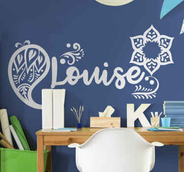 A simple home decal with ornamental flower design and customisable name that you can use to decorate any space of choice.