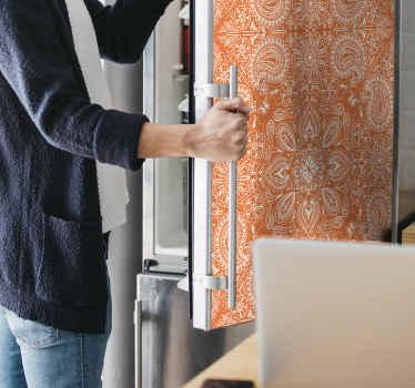고품질 비닐로 만든 아름다운 장식용 오렌지 냉장고 데칼로 냉장고 문 공간을 바꿔보세요. 적용하기 쉽고 자체 접착력이 있습니다.