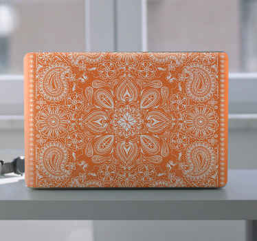 Let your laptop surface shout out in our beautiful orange colour laptop decal.  The design is printed in multiple ornamental paisley patterns.