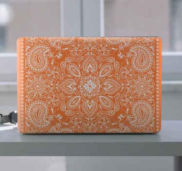 Deixe a superfície do seu pc gritar no nosso lindo vinil autocolante para PCem cor laranja. O design é impresso em vários padrões paisley ornamentais.