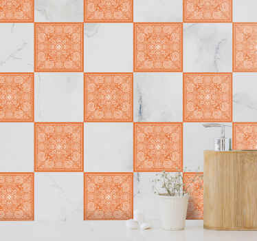 Buy our decorative waterproof tile sticker with ornamental paisley design in orange colour to beatify a bathroom space in style .