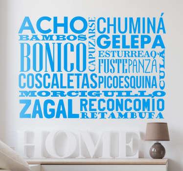 Vinilos Murcia compuesto por diferentes palabras del vocabulario popular de esta región tan especial del litoral mediterráneo.