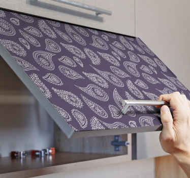 Decorative furniture sticker made with an ornamental paisley design. Ideal for all furniture surfaces like cabinets in the kitchen, drawer, and table.