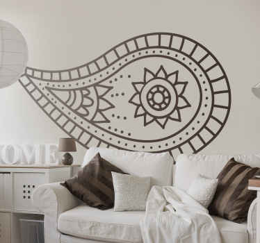 Decorative paisley flower sticker to enhance your home space in a great way. A great idea for a living room and bedroom.