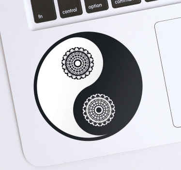 Decorative laptop sticker to decorate a laptop space with in an Asian ying yang design style. It is easy apply and available in any size required.