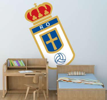 Escudo Adhesivo del Real Oviedo, club de fútbol del Principado de Asturias. Singular vinilo para los amantes del deporte.