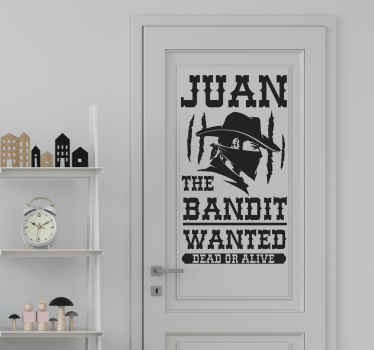 Personalize the bedroom door space of your child in our custom cowboy door sticker created with the design of a bandit. It is made of high quality.