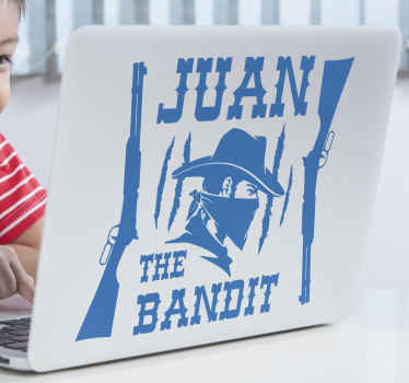 Personalize your laptop in our custom cowboy bandit laptop sticker.  The design is a silhouette of a bandit with the text that says ''The bandit''.